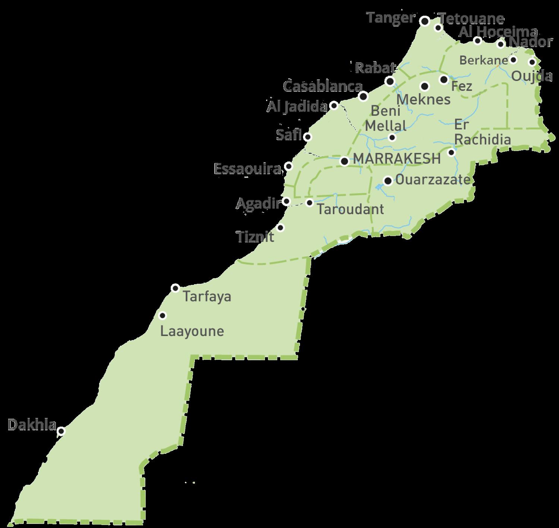 landkaart marokko